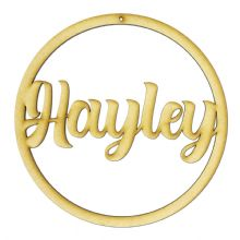 Personalised Name Hoop With Hole 3mm MDF Wood Circle Home Nursery Wall Sign
